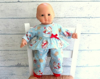 Babydoll Pajamas with Slippers, 15 inch Doll PJs, Flannel Pajamas, Snowman Pajamas, Crocheted Slippers