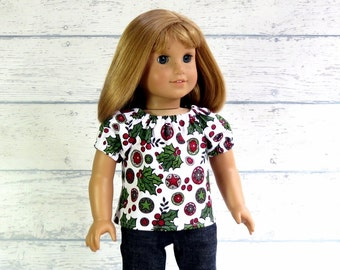 Christmas Holly Peasant Top, 18 inch Doll Shirt, Holiday Top, Red Green Shirt