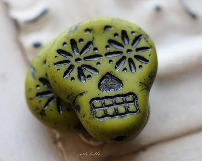 sale .. CHARTREUSE BLACK SKULLS .. 2 Picasso Czech Sugar Skull Beads 20x17mm (5270-2)