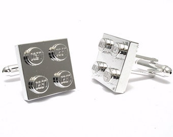 Chrome Silver Brick Cufflinks. Handmade with LEGO(r) Bricks. Cufflinks for weddings. office, grooms - Silver Plated