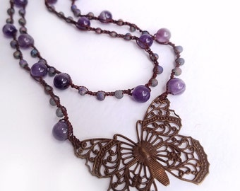 Purple Amethyst Necklace Crochet Necklace Boho Necklace Butterfly Necklace Double Strand Layered Necklace Purple Brown - MADE TO ORDER
