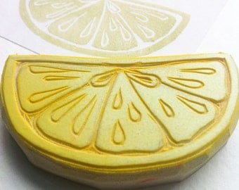 slice of lime hand carved rubber stamp, handmade lemon stamp, citrus slice stamp