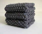 SALE / Gray Cotton Dish Cloth / Knit Dish Cloth / Pewter Knit Wash Rag / Gray Knit Dish Rag / CLEARANCE SALE