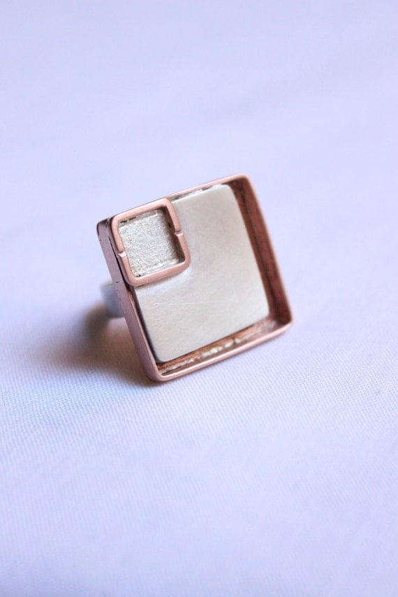 Statement ring made of copper and sterling silver,  Squares Geometric Design
