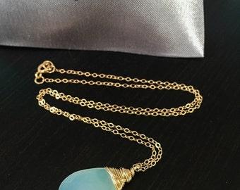 Chalcedony Necklace, Light Blue Pendant, Simple Necklace, Layering Necklace, Blue Stone Necklace