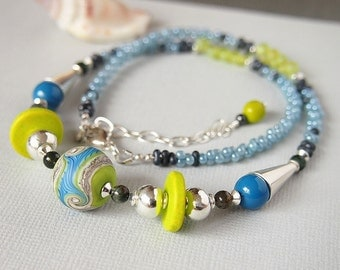 Blue Green Lampwork Necklace, Sky Blue, Lime Green,Sterling Silver, Glass Bead Necklace - WANDERLUST