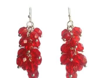 Scarlet - Red Earrings - Sparkling Czech Bead Cluster Dangle Earrings - Mishimon Designs