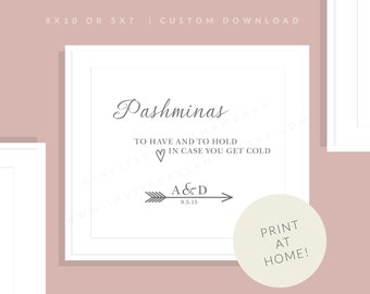 Pashmina Wedding Sign   Printable Wedding Sign   Shawl   Downloadable In Case You Get Cold Sign   Wedding Day Sign   Allie Collection