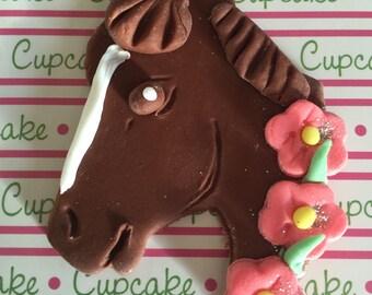 Pony Horse Cowgirl Cowboy fondant cupcake topper 1 dozen