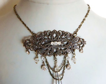 Masquerade ball labyrinth necklace Victorian inspired antique brass with crystals