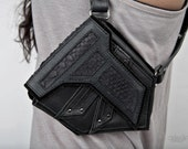 Black Stealth Leather and Snake Skin Holster - Double pocket Tomb Raider look