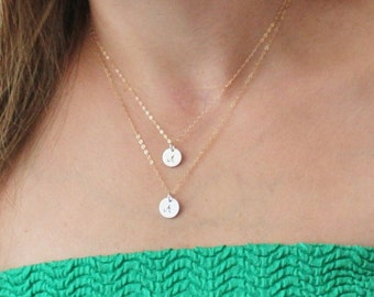 Double Layered Necklace .Two personalized discs necklace . Initial layering necklaces . Double Strand Initial Necklace Gold and Silver