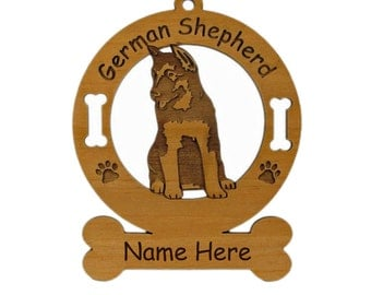 3219 German Shepherd Pup Sitting Personalized Dog Ornament