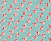 Sale - 2 yards Rosey by Tanya Whelan - Cherry Blossom TW065 Teal