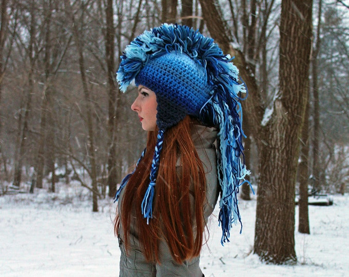 Blue Ombre Mohawk Hat Extreme Style