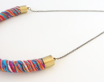 Rainbow Rope Necklace -- Colorful Twisted Pendant -- Brass Chain -- UK Shop