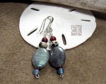 Lovely Labradorite Gemstone Earrings, Womens Dangle Earrings, Shimmering Gemstone Earrings, Boho Earrings, Gift for Her, 925 Sterling Silver