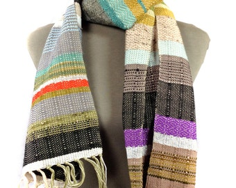 Arthur | Handwoven Olive, Midnight & Apple Scarf | Woven Boho Chic Statement | Striped Heirloom | Luxury Women's Fashion | Women's Gifts