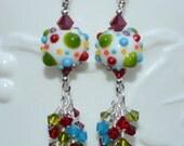 Fun Colorful Bumpy Lampwork Swarovski Beaded Earrings