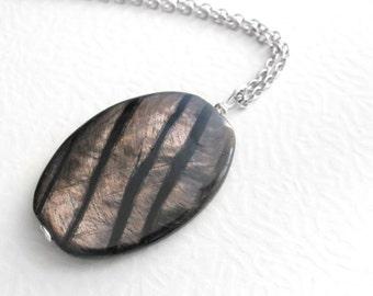 Hypersthene Stone Pendant, Semi Precious Gemstone Jewelry, Men's Necklace