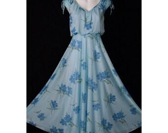 SALE - Vintage Soft Blue Flowing MAXI Sundress 70's Floral