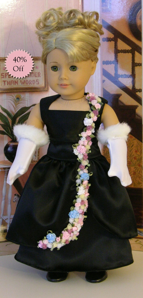 American Girl doll Black Satin Evening Gown - Petals in the Moonlight  **Sale**
