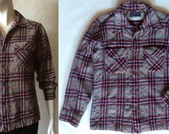 Pendleton shirt in royal blue, burgundy, gray, black, and white plaid textured wool, men's small / women's medium