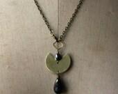 Boho Brass Pendant with Jasper, Hematite, and Pyrite Drop, Gold Lariat