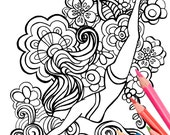 Diving Girl Coloring Page - Digital Download Beach Art - A Colorful World Suf & Sun by Alexine and Lori Goldwag - Beach Adult Coloring Book