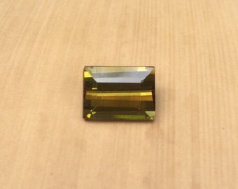 Tourmaline Loose Gemstone - 6x8mm Natural Baguette cut Olive Green Tourmaline for Sale - LSG148