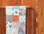 Woodland Boy Patchwork Quilt in Gray, Orange, Turquoise and Mint Deer