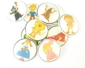 """10 Wizard of Oz Buttons.  Set of 10 different Wizard of Oz themed buttons.  3/4"""" or 20 mm. Handmade Sewing Buttons."""