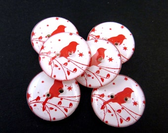"""6 Bird on Branch Buttons.  Two Hole Sewing Buttons. 3/4"""" or 20 mm. Red Bird and Snowflakes.  Handmade By Me.  Washer and Dryer Safe."""