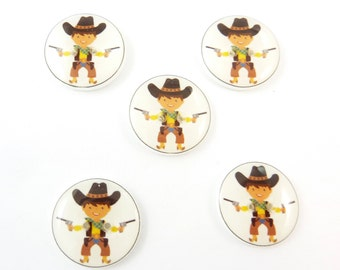 "5 Cowboy Buttons. Police Buttons.  Sewing Buttons.  Novelty Buttons.  Decorative Buttons. 3/4"" or 20 mm Round."