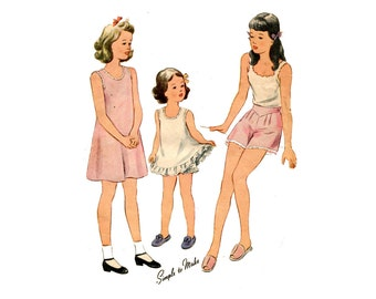 1940s Childrens Underwear Pattern Slip and Panties Tent Dress Tap Pants Simplicity 4882 Size 14 Bust 32 Vintage Sewing Pattern UNPRINTED