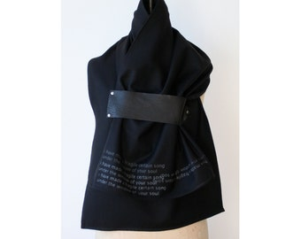 013 black wool & leather scarf e.e. cummings