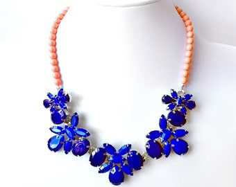 Cobalt and Coral Bib Necklace in Silver - Cobalt Blue and Coral Pink Statement Necklace - Unique Statement Necklace - Peach