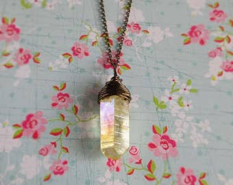 """Yellow Crystal Point Necklace, Aura Quartz Point, Stone Pendant, Antiqued Brass Chain, Rock Wire Wrap Jewelry 16"""" - 24"""""""