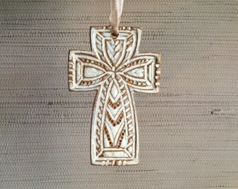 Chowder Cream White Cross Ornament - Ceramic Stoneware Christmas Decoration