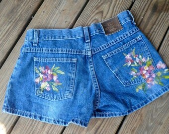 Vintage Womens Blue Jeans Shorts Hand Painted Roses Denim Shorts Unique One of a Kind  FREE SHIPPING