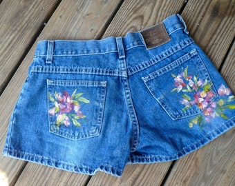 Vintage Womens Blue Jeans Shorts Hand Painted Roses Denim Shorts Unique One of a Kind women's Clothing