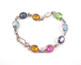 Sterling Silver Bezel Bracelet - Colorful Glass Gems - Vintage Jewelry