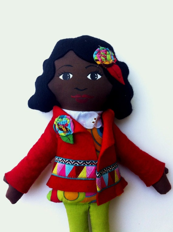 Cloth Doll, Hand Painted Face Black Hair Dark skin African American Doll Christmas Doll diverse dolls gifts under 50 gifts for girls