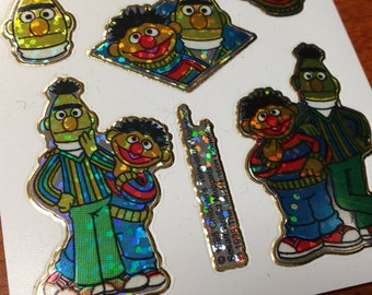 Rare 90s Prism Bert and Ernie Sesame Street Stickers