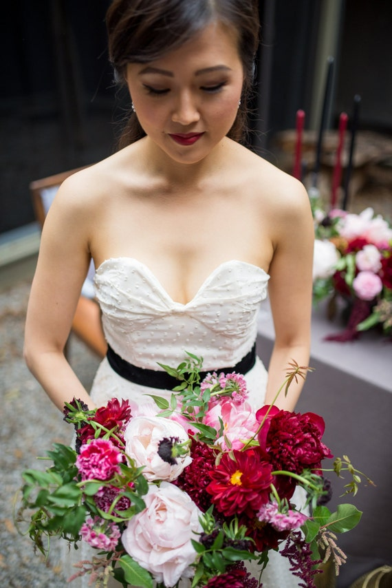 Audrey, Ivory Middie Bow Wedding dress, Polka dots, Vintage Inspired