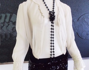 1920s ivory white chiffon beaded  blouse/ 20s sheer flapper blouse/ 1920s sailor blouse top