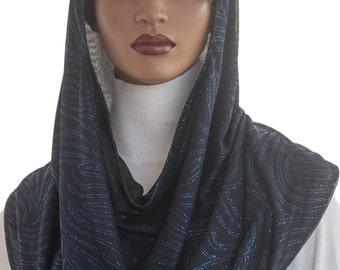 Koul SHôl™ Head Hoodie Blue Glitter Swirls Cowl Hoodie Fully Lined Veil Devotional Head Hoodie Veil Hoodie Hijab Hoodie Handmade