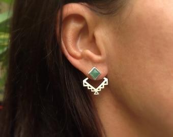 Aztec ear jacket earrings - geometric tribal ear jackets and gemstone stud earrings - geometric- tribal- minimal