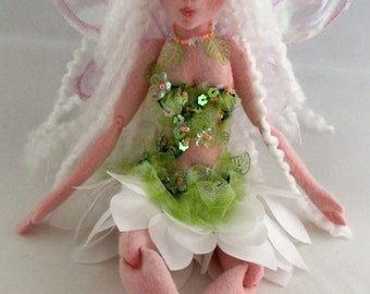 LILLY PAD Fairy, soft sculpture cloth doll, handmade in the USA