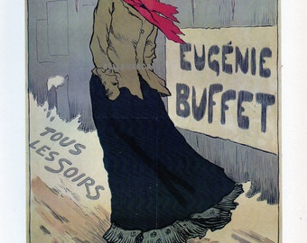 French Poster - Eugenie Buffet - French Singer - 1893 Poster by Metivet 1968 Reproduction Print 8-1/2 x 12